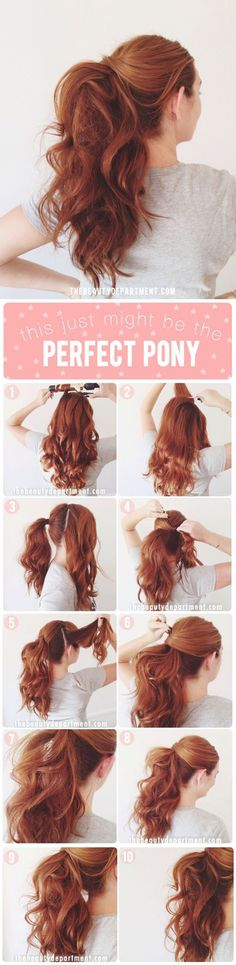 To Instantly Make Your Hair Look Thicker - Quick and Easy Ponytail Tutorial - DIY Products, Step By Step Tutorials, And Tips And Tricks For Hairstyles That Make Your Hair Look Thicker. Hair Styles Like An Updo Or Braiding And Braids To Make Your Hair Up Hairstyles, Gorgeous Hairstyles, Medium Hairstyles, Curly Ponytail Hairstyles, Ponytail Hairstyles Tutorial, Mohawk Ponytail, Long Haircuts, Pinterest Hairstyles, Long Hair Ponytail Styles