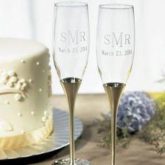 Flûtes à champagne argent VIP personnalisées - MARIAGE ORIGINAL (DT COMPANY)