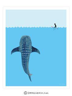 Whale Shark Art Print by Jonas Claesson Shark Art, Illustration Art, Illustrations, Art Graphique, Animal Drawings, Cool Art, Artsy, Sketches, Art Prints