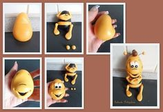 Včielka Maja - Vilko Fondant Animals Tutorial, Fondant Tutorial, Bee Cakes, Cupcake Cakes, Cupcake Toppers, Clay Projects, Clay Crafts, Biscuit, Bee Creative
