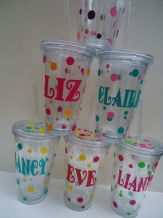 6 Personalized acrylic tumblers    Great by dotteddesigns4brides, $60.00