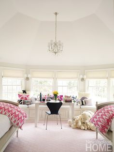 A contemporary, pink girl's room in Wilton, Conn. Photo by Tria Giovan