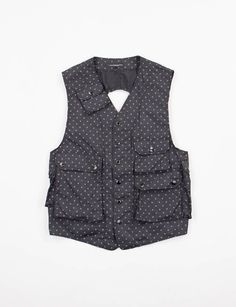 Engineered Garments Black Polka Dot Microfiber C–1 Vest
