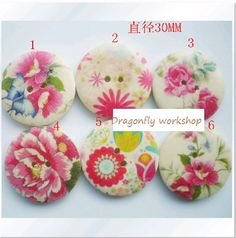 24 wooden buttons with pink flowers, 3cm, floral buttons, flower buttons on Etsy, $5.75 AUD