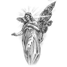 Angel With Cross Tattoo Design Fairy Tattoo Designs, Cross Tattoo Designs, Music Tattoo Designs, Skull Tattoo Design, Angel Tattoo Meaning, Fallen Angel Tattoo, Guardian Angel Tattoo, Angels Tattoo, Beautiful Angel Tattoos