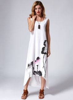 Linho Floral Sem magas Longuete Vintage Vestidos de