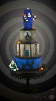 Nightmare Before Christmas vs Doctor Who cake