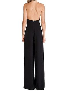 Shop Black Halter Plunge Neck Backless Palazoo Jumpsuit from choies.com .Free shipping Worldwide.$31.9