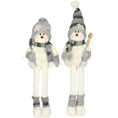 Christmas Party Winter Sitting Snowman Long Legs Figure Cuddle Toy Decoration #Festive