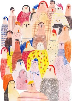 Marion Barraud whimsical crowd scene illustration of people drawn in naive style with colored pencils and watercolor Illustration Inspiration, Inspiration Art, Children's Book Illustration, Character Illustration, Art Inspo, Illustration Mignonne, Creation Art, Art Graphique, Illustrations And Posters