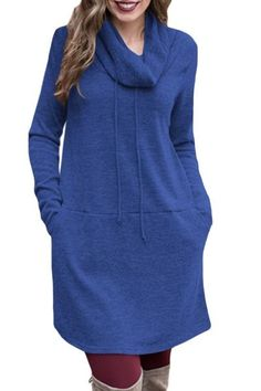 31ecb976ad6 Blue Drawstring Long Sleeve Cowl Neck Sweatshirt Dress  dresses  sweatshirts   cowlneck  style
