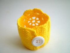 Crochet Lace Cuff Wrist band in Yellow by bysweetmom on Etsy