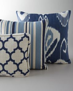 "Pillows in Shades of Blue at Horchow.Breathe new life into any room and refresh it instantly with this collection of pillows with varied patterns, all in cooling shades of blue. Moroccan-patterned ""Dash Admiral"" pillow made of cotton/rayon/polyester, 20"" x 11"". Striped ""Wilson Twilight"" pillow made of cotton, 15""Sq. Floral-motif ""Bansuri Iris"" pillow made of linen, 19""Sq. All have polyester/feather/down fill. Dry clean. Made in the USA."