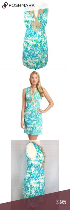 """Lilly Pulitzer Janice High Brand Shift Dress Intricate swirling gold soutache dresses up the notched neckline of this simple shift. Add flat sandals and loose waves for a perfect post-beach party look.  Sleeveless Shift With V-Neck And 2"""" Side Slits. 20"""" From Natural Waist To Hem. Cotton Poplin (100% Cotton). Machine Wash Cold.   Measurements laid flat:  18.5"""" bust 16.5"""" waist 37"""" length   Excellent pre owned condition Lilly Pulitzer Dresses"""