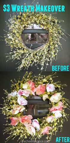 DIY-Spring-Wreath-Makeover thecheerfulspace.com