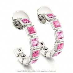 MARCIA | Designer Hoop Earrings with Pink Sapphire and Swarovski Brilliance Cubic Zirconia Pink in 18k White Gold