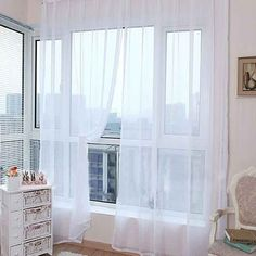 Rod type Pure Color Window Curtain Glass Yarn Sheer Sun Shading for living rooms bedrooms Balcony Door decoration White Color