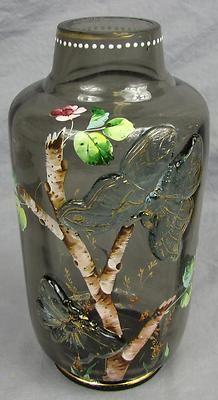 Emile Galle Cristallerie Vase Enamel Tree Applied Butterflies Gorgeous | eBay