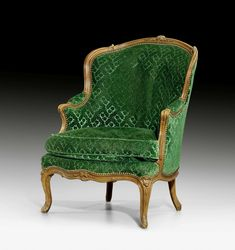c1745 BERGERE, Louis XV, by Louis Poussiée, maître prior to 1737, Paris. Moulded walnut, finely carved with flowers, leaves and ornamental frieze, and silk velour cover.