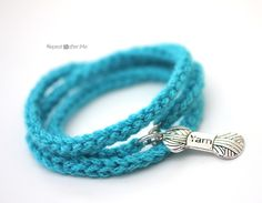 Repeat Crafter Me: Crochet I-Cord Bracelet with Yarn Charm