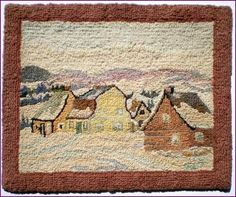 Georges Édouard Tremblay - Canadian Artist Hooked Mat - Signed by the Artist After a painting by Clarence Gagnon - Baie-St. Wool Embroidery, Wool Applique, Seed Stitch Blanket, Clarence Gagnon, Rug Hooking Patterns, Rug Patterns, Wool Mats, Vintage Hooks, Christmas Arts And Crafts