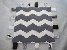 Gray Chevron Baby Boy Taggie Blanket, Taggie Sensory Toy. $12.00, via Etsy.   @tracyhempy please make this for me