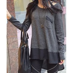 $11.06 Stylish Scoop Neck Chiffon Spliced Loose-Fitting Long Sleeve Women's T-Shirt