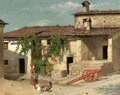 "Borrani, Odoardo (1832-1905) - Feeding the Chickens (Sotheby's New York, 2009) ""Macchiaioli"" Painters ODOARDO BORRANI (Pisa, 22 agosto 1833 – Firenze, 14 settembre 1905) #TuscanyAgriturismoGiratola"
