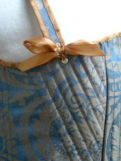 Lady Jane Corset Detail by Cameron Hampton  (My 2nd Corset)  Silk, linen, Poplar wood busk, nylon boning throughout, cotton, brocade  Based on a 16th Century Corset pattern (detail)