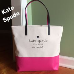 "NWT Kate Spade ""Basin View"" Bon Shopper Tote How cute is this!!!  From the ""Basin View"" collection. You will definitely love this tote. Cream / Bright Pink. Kate Spade signature interior fabric. Lettering on front in black. kate spade Bags Totes"