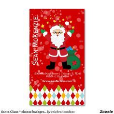 Sold #SantaClaus * choose background color Business Card #christmas Available in different products. Check more at www.zazzle.com/celebrationideas