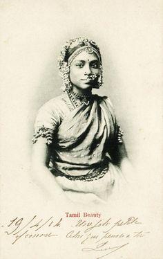 1914 Sri Lanka :: Superb Tamil Woman Tamil Saree, Abstract Pencil Drawings, Royal Indian, History Of India, Vintage India, Sari, Grand Bazaar, Historical Images, Beautiful Bollywood Actress