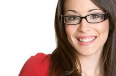picture of eye glasses - Beautiful young brunette lady wearing eye glasses - JPG