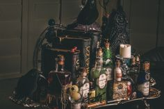 DIY Harry Potter Potion Display for Halloween -Tray Contents - Scrapbook.com