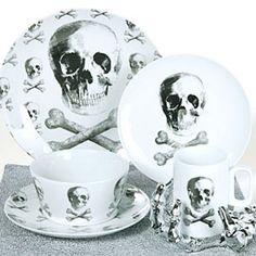 Skull and Crossbone Dinnerware  sc 1 st  Pinterest & 222 Fifth Skull Bump in the Night 16 piece Halloween Dinnerware set ...