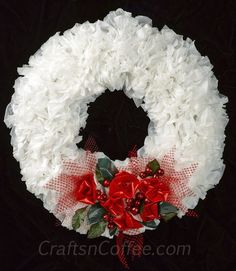 Ruffled & Recycled Plastic Bag Christmas Wreath. This pretty wreath is made from plastic shopping bags! And the ribbon is a mesh produce bag. Love this idea.