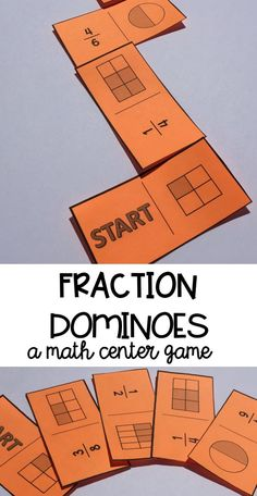 Fraction dominoes are a fun and engaging math center for students who are practicing naming and identifying fractions. Can be played with a partner, small group, or independently. Fraction Activities, Math Resources, Math Activities, Math Games, Math Math, Word Games, Education Positive, Math Education, Math Graphic Organizers