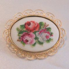 Vintage Floral Pettipoint Brooch by BorrowedTimes on Etsy