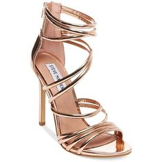 Steve Madden Women's Santi Strappy Sandals (£88) ❤ liked on Polyvore featuring shoes, sandals, rose gold, steve madden sandals, strappy stilettos, heels stilettos, stiletto sandals and stiletto heel sandals