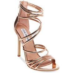 b2fa0819228c New Rose Gold Steve Madden Santi Strappy Heel Sandals Size 7