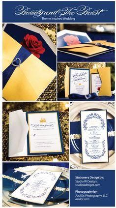 Beauty and The Beast Themed Wedding Invitation ©Studio W Designs…