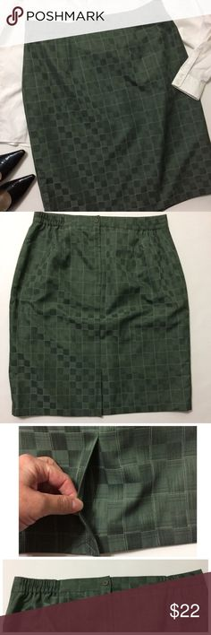 "Sag Harbor Checkered Dressy Skirt Pretty darker Sage Green color with a stripe print within each Checkered square & Creamy white threading boxing out every 4 checks. Zipper & Button in back for closure with 4"" elastic on each side in back.  I do not have a jacket for this and I did in error wash it instead of dry clean But it did Not alter the feel of the fabric still feels like Polyester/Rayon..size 18w it measures 18.5-21"" across waist laying flat with and without it being stretched…"