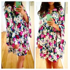 "❗️ONE NIGHT SALE❗️ Floral Bell Sleeve Mini Dress Beyond gorgeous summer tunic dress with tassel front and bell sleeves. this print is so so chic and perfect for the upcoming warm weather! A truly must have! S M L. Runs true to women's sizing. 34"" length. I'm 5'2 wearing wedges and it's about 2-3 inches above the knee for me. Dresses Mini"