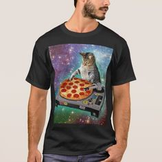 Space Cat Spinning Pizza Turntable T-Shirt
