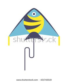 Summer kite and flying kite. Childhood playing freedom game kite and colorful fish kite hobby toy. Hobby Toys, Kite Flying, Colorful Fish, Freedom, Royalty Free Stock Photos, Childhood, Rainbow, Activities, Flat