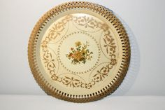 Vintage Round Towle Tray, Cottage Chic Home Decor, Metal Serving