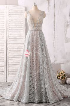 Sparkling and Sheer Silver Plunging V-neck A-line Evening Prom Dress with Chapel  Train 46b6d7863b88