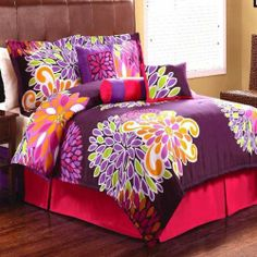 Flower Show Purple 7 Piece King Comforter Set by Pem America. $124.99. For the teen girls who want to make a bold statement in their bedroom with a fun and modern style, this is the perfect bedding ensemble. Bright large scale multicolored flowers on a rich purple tone make this comforter the rage of any room and one your teen girl will fall in love with. Hot pink bedskirt with pretty decorative pillows add a visually appealing final touch. Twin set includes: 1...