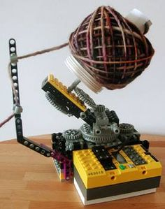 Home-made yarn winder out of LEGOs!