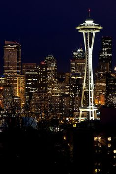 City Lights...... Space Needle Seattle, Washington by James Marvin Phelps
